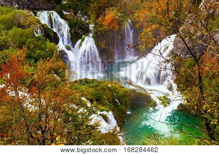 Autum colors and waterfalls of Plitvice National Park in Croatia