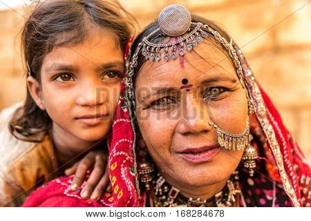 Indian mother and daughter