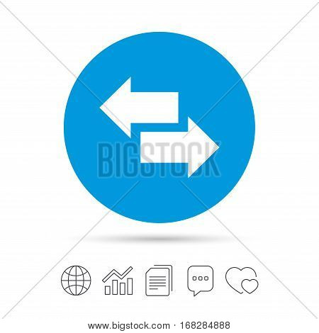Incoming and outgoing calls sign. Upload. Download arrow symbol. Copy files, chat speech bubble and chart web icons. Vector