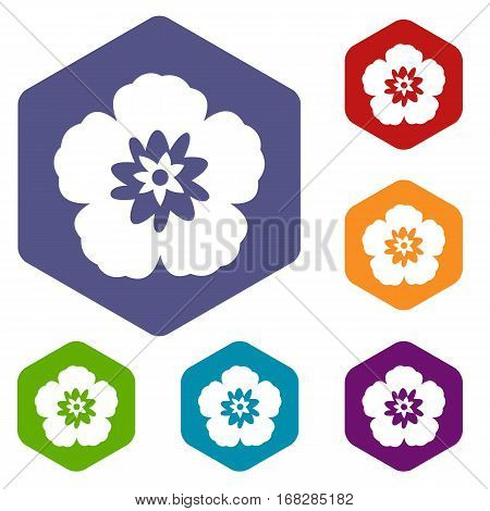 Rose of Sharon, korean national flower icons set rhombus in different colors isolated on white background