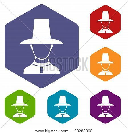 Korean soldier in historic uniform icons set rhombus in different colors isolated on white background