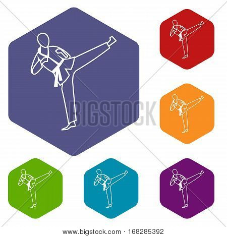 Wushu master icons set rhombus in different colors isolated on white background