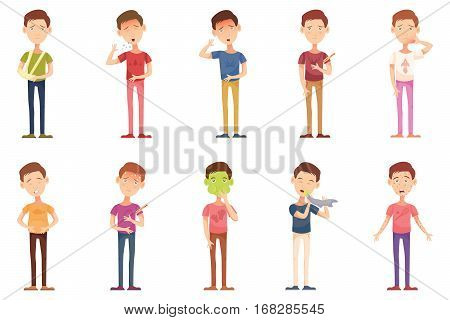 Influenza, icons, illness, cartoon with unhealthy people, boy child flat vector illustration