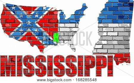 Mississippi on a brick wall - Illustration, Font with the Mississippi flag,  Mississippi map on a brick wall