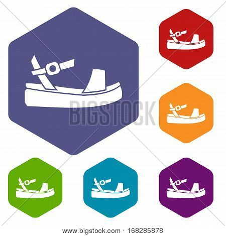 Women sandal icons set rhombus in different colors isolated on white background