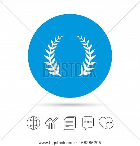 Laurel Wreath sign icon. Triumph symbol. Copy files, chat speech bubble and chart web icons. Vector