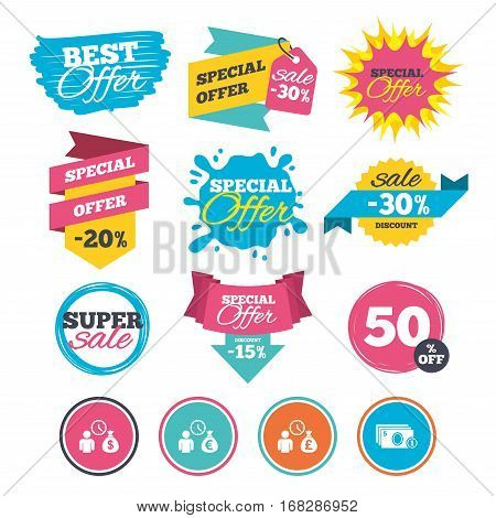 Sale banners, online web shopping. Bank loans icons. Cash money bag symbols. Borrow money sign. Get Dollar money fast. Website badges. Best offer. Vector