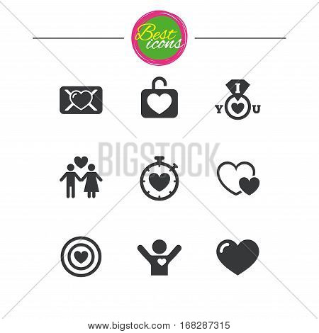 Love, valentine day icons. Target with heart, oath letter and locker symbols. Couple lovers, boyfriend signs. Classic simple flat icons. Vector