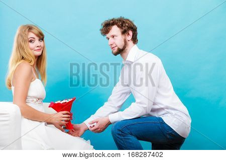 Couple With Candy Bunch Flowers. Love.