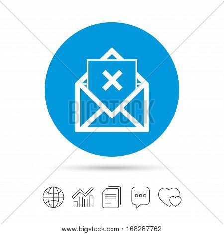Mail delete icon. Envelope symbol. Message sign. Mail navigation button. Copy files, chat speech bubble and chart web icons. Vector