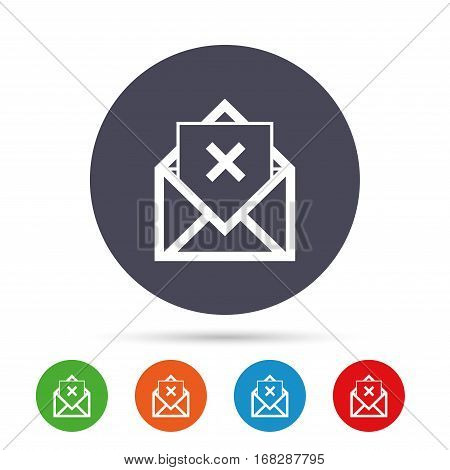 Mail delete icon. Envelope symbol. Message sign. Mail navigation button. Round colourful buttons with flat icons. Vector