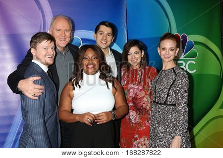 LOS ANGELES - JAN 18:  Steven Boyer, John Lithgow, Sherri Shepherd, Nick D'Agosto, Krysta Rodriguez, Jayma Mays at the NBC TCA Winter 2017 at Langham Hotel on January 18, 2017 in Pasadena, CA