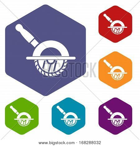 Circular saw icons set rhombus in different colors isolated on white background