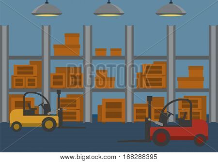 Warehouse delivery storage building interior indoor outdoor loader loading wheel fork box crate package rack concept web site illustration. Flat style website creative vector template.