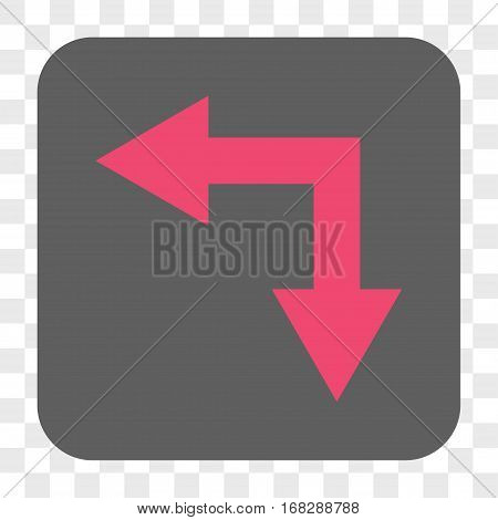 Bifurcation Arrow Left Down interface toolbar button. Vector icon style is a flat symbol in a rounded square button pink and gray colors chess transparent background.
