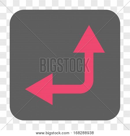 Bifurcation Arrow Left Up interface toolbar button. Vector icon style is a flat symbol in a rounded square button pink and gray colors chess transparent background.