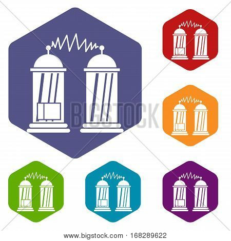 Electrical impulses icons set rhombus in different colors isolated on white background