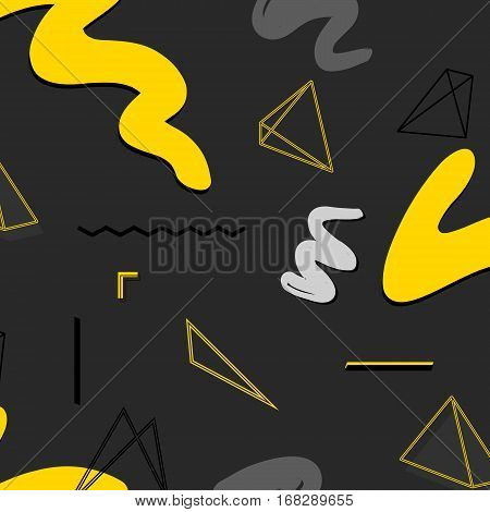Urban rectangle abstract geometric pattern. Vector graphic creative texture. Yellow grey black contrast background with square elements. Simple minimal invert print.