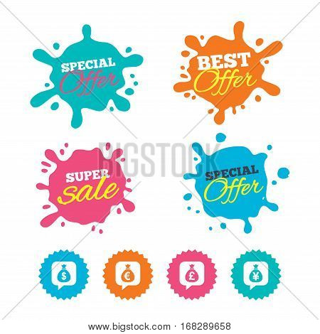 Best offer and sale splash banners. Money bag icons. Dollar, Euro, Pound and Yen speech bubbles symbols. USD, EUR, GBP and JPY currency signs. Web shopping labels. Vector