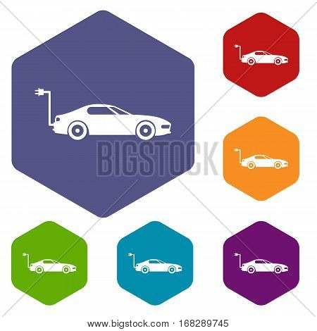 Electric car icons set rhombus in different colors isolated on white background