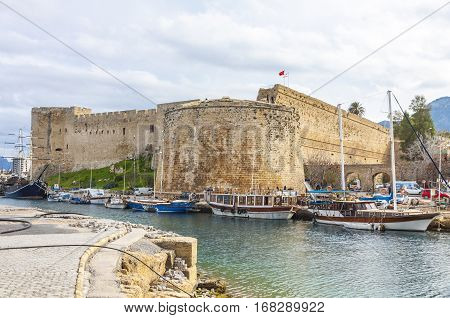 Old harbour and Kyrenia castle (Girne Kalesi) Northern Cyprus. Kyrenia is a city on the northern coast of Cyprus noted for its historic harbour and castle