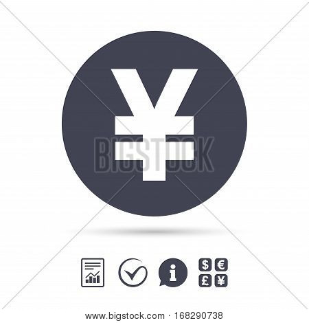 Yen sign icon. JPY currency symbol. Money label. Report document, information and check tick icons. Currency exchange. Vector