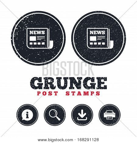 Grunge post stamps. News icon. Newspaper sign. Mass media symbol. Information, download and printer signs. Aged texture web buttons. Vector