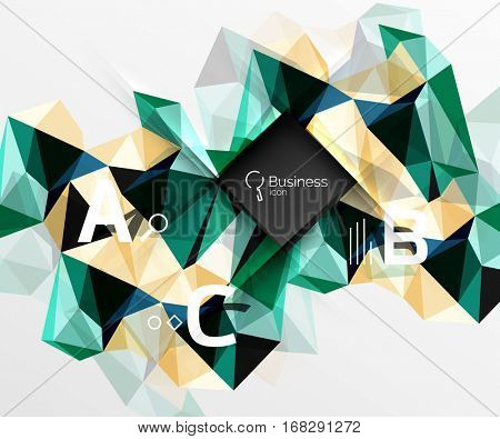 Polygonal triangle abstract background with infographics. Vector 3d mosaic template background for workflow layout, diagram, number options or web design
