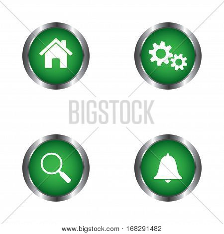 Home, settings, search and notification web buttons vector design isolated on white background