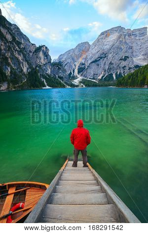 Man Alone At The Braies Lake, Italy