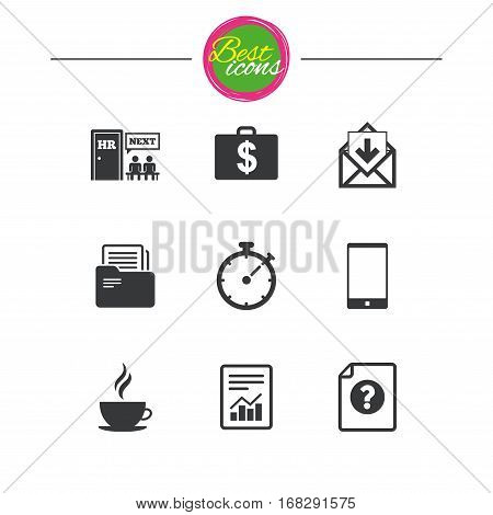 Office, documents and business icons. Accounting, human resources and phone signs. Mail, salary and statistics symbols. Classic simple flat icons. Vector
