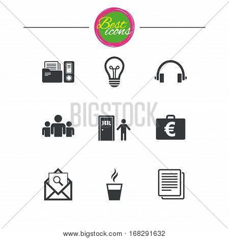 Office, documents and business icons. Accounting, human resources and group signs. Mail, ideas and money case symbols. Classic simple flat icons. Vector