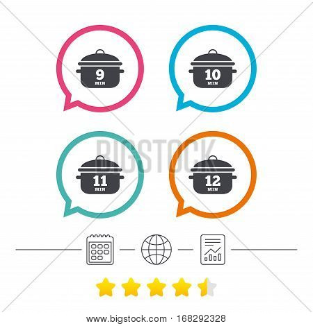 Cooking pan icons. Boil 9, 10, 11 and 12 minutes signs. Stew food symbol. Calendar, internet globe and report linear icons. Star vote ranking. Vector