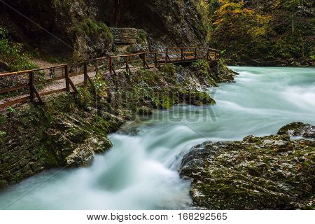 Vintgar Gorge And Wooden Path Near Bled