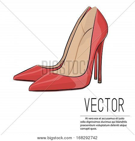 Vector red heels fashion illustration. Glamour female high heel illustration. Sexy Leather woman shoes isolated on white background. Elegant stiletto fetish accessory. Lady luxury footwear.