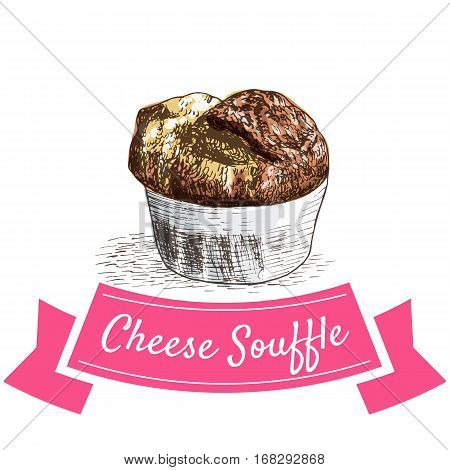 Cheese Souffle colorful illustration. Vector illustration of French cuisine.
