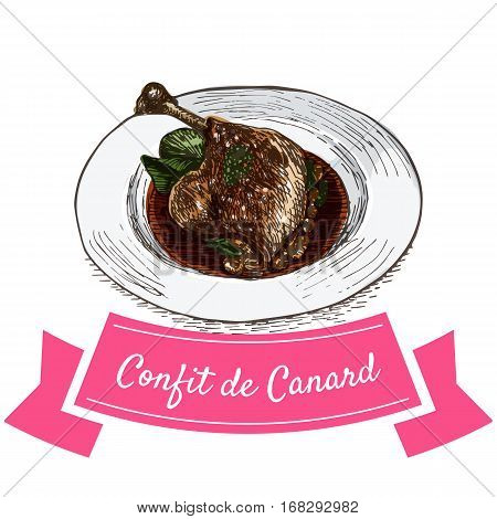 Confit de Canard colorful illustration. Vector illustration of French cuisine.