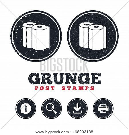 Grunge post stamps. Paper towels sign icon. Kitchen roll symbol. Information, download and printer signs. Aged texture web buttons. Vector
