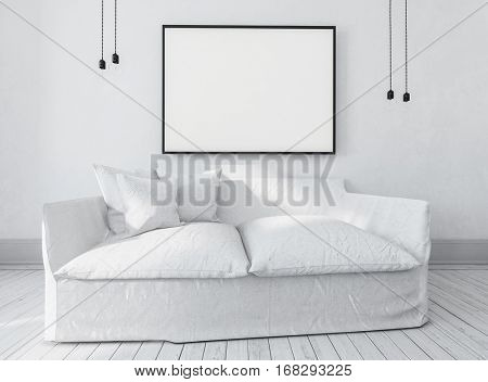 Large comfortable white couch or day bed below a large empty picture frame with copy space in an airy bright monochromatic room, inter decor. 3d rendering