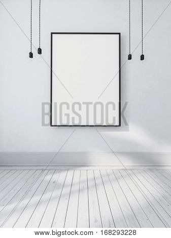 Large blank empty rectangular picture frame hanging on the wall in a monochromatic white room with bare light bulbs on either side, 3d rendering