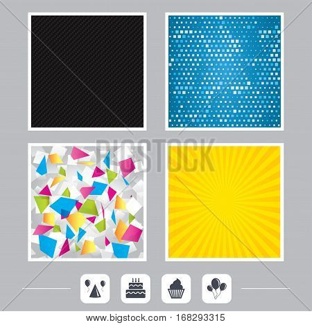 Carbon fiber texture. Yellow flare and abstract backgrounds. Birthday party icons. Cake, balloon, hat and muffin signs. Celebration symbol. Cupcake sweet food. Flat design web icons. Vector