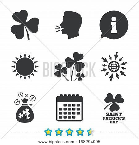 Saint Patrick day icons. Money bag with clover and coins sign. Trefoil shamrock clover. Symbol of good luck. Information, go to web and calendar icons. Sun and loud speak symbol. Vector
