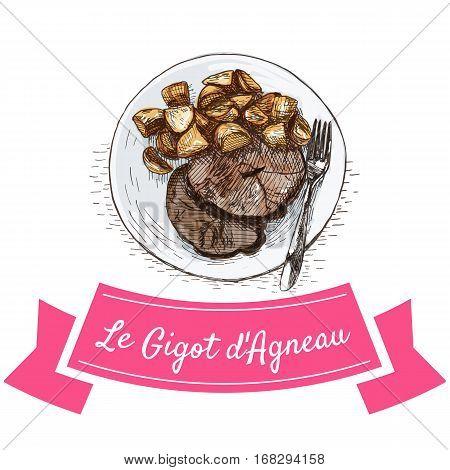 Le Gigot d'Agneau colorful illustration. Vector illustration of French cuisine.