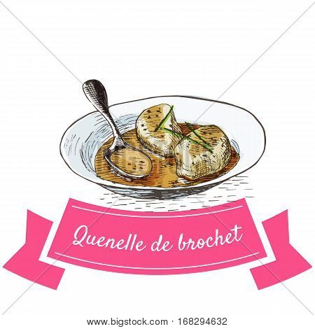 Quenelle de Brochet colorful illustration. Vector illustration of French cuisine.