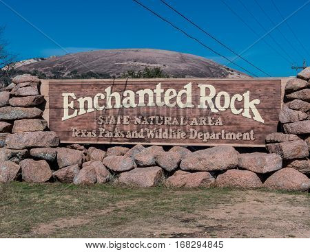 January 19 2017: .Fredericksburg Texas. Enchanted Rock Entry Sign in the Texas Foothills