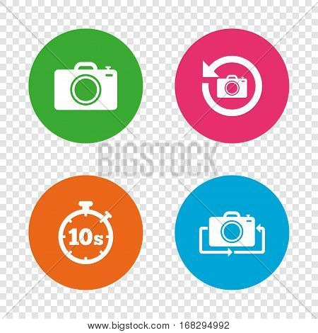 Photo camera icon. Flip turn or refresh symbols. Stopwatch timer 10 seconds sign. Round buttons on transparent background. Vector