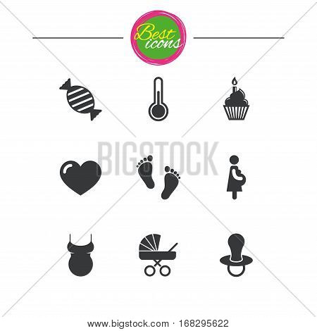 Pregnancy, maternity and baby care icons. Candy, baby carriage and pacifier signs. Footprint, cake and thermometer symbols. Classic simple flat icons. Vector