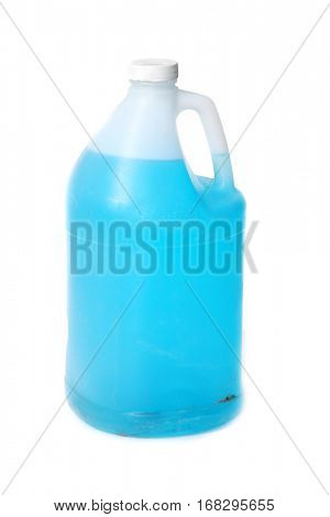 plastic gallon jug of blue window washing solution