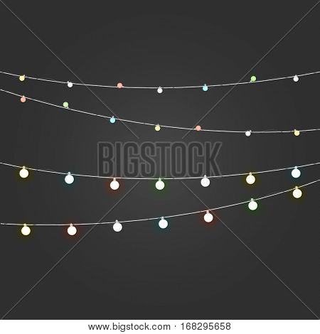 Different color lighting garland vector set on dark background. Christmas lights vector collection. Glowing lamps