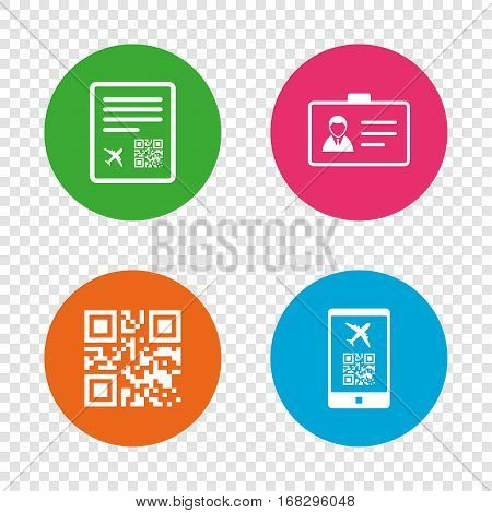 QR scan code in smartphone icon. Boarding pass flight sign. Identity ID card badge symbol. Round buttons on transparent background. Vector